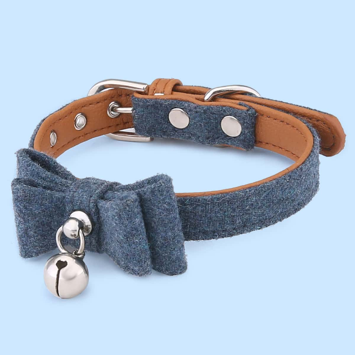 1 Stück Katzenhalsband mit Schleife & Glocke Dekor