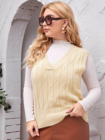 Plus Cable Knit Sweater Vest