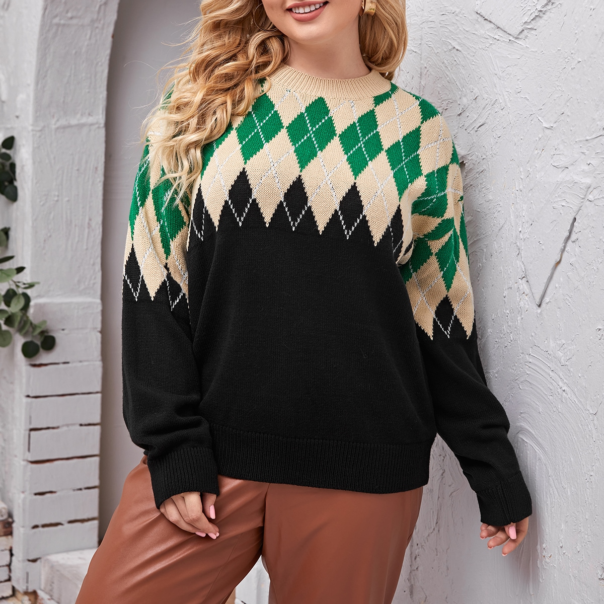 SHEIN Casual Geometrisch Grote maat: trui