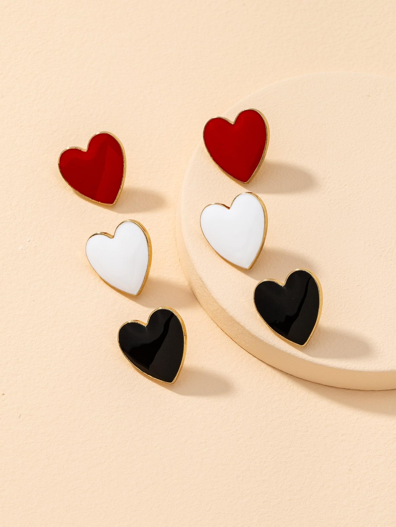 3pcs Heart Shaped Stud Earrings thumbnail
