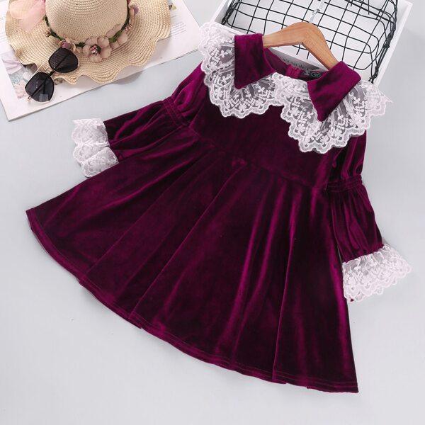 Toddler Girls Statement Collar Velvet Babydoll Dress, Maroon