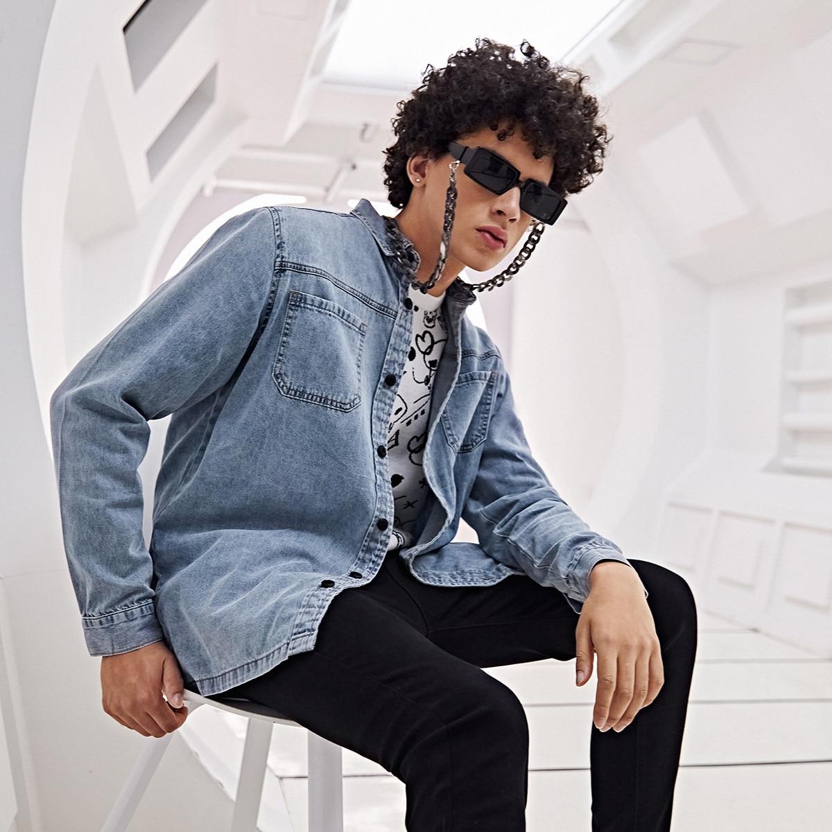 Карман одноцветный повседневный мужские джинсовые рубашки