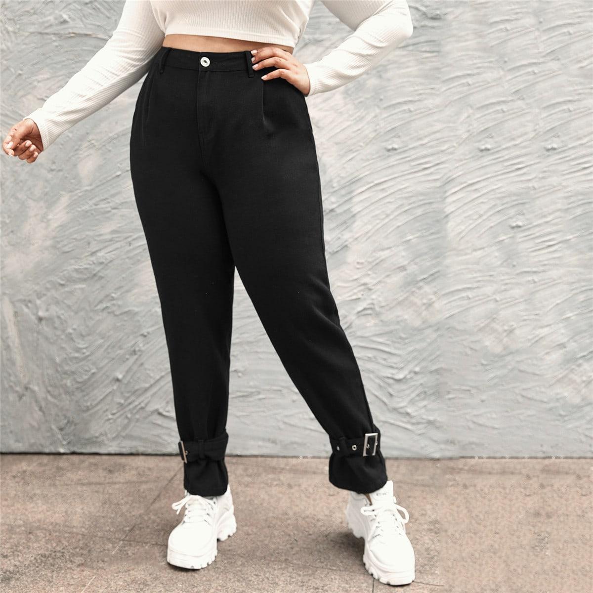 Jeans mit hoher Taille und Schnalle Detail