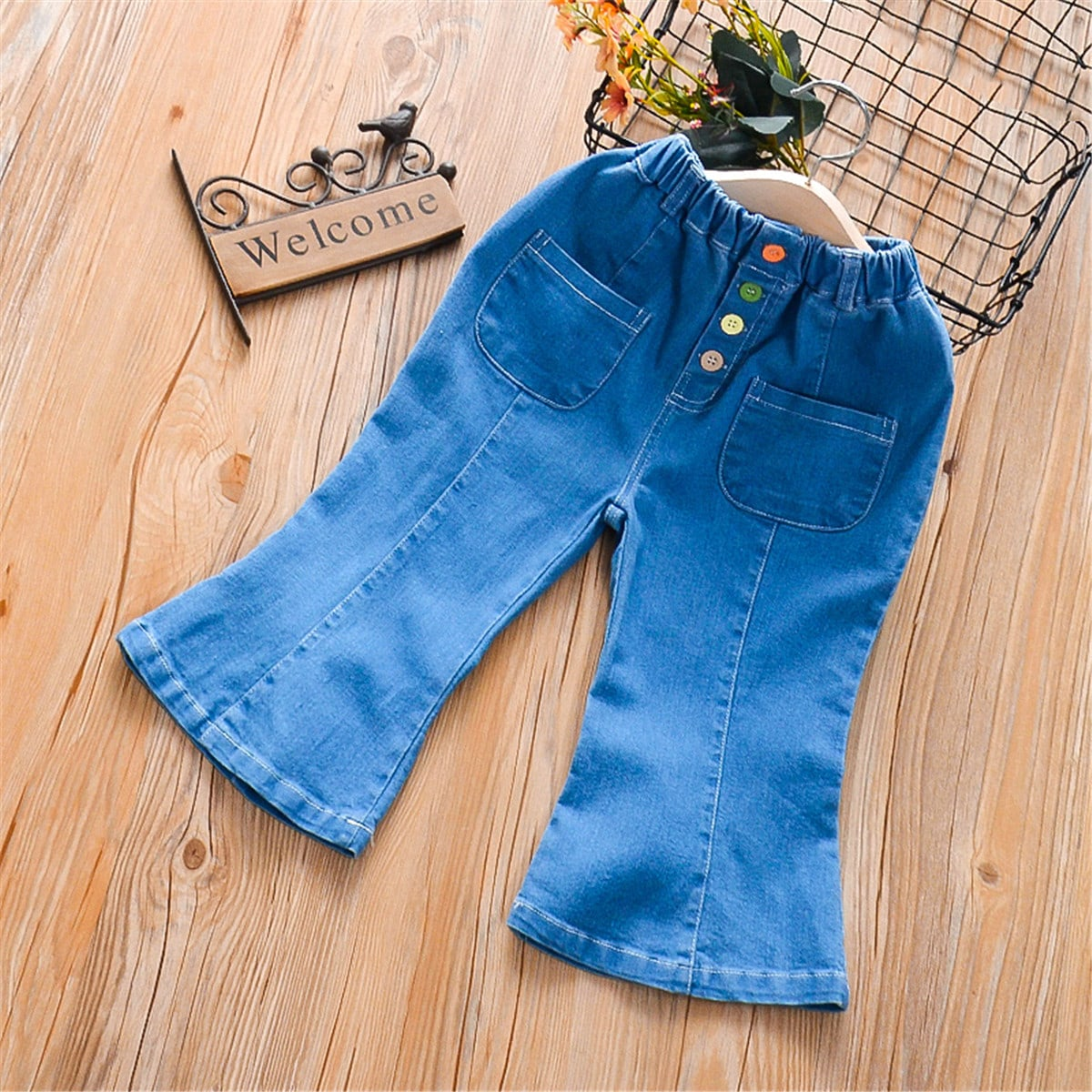 Пуговица одноцветный повседневный джинсы для девочек