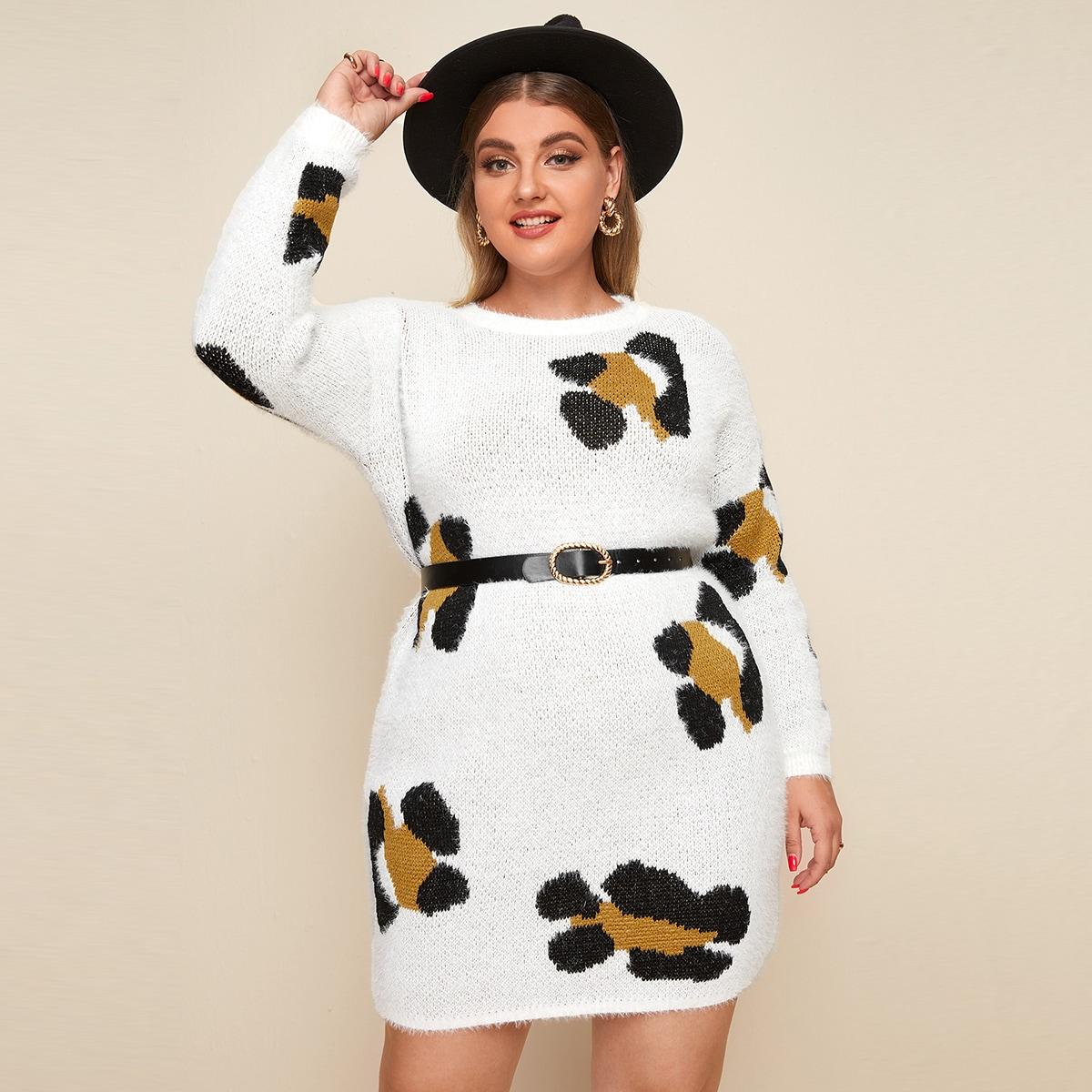 Платье-свитер размера плюс с графическим узором без пояса
