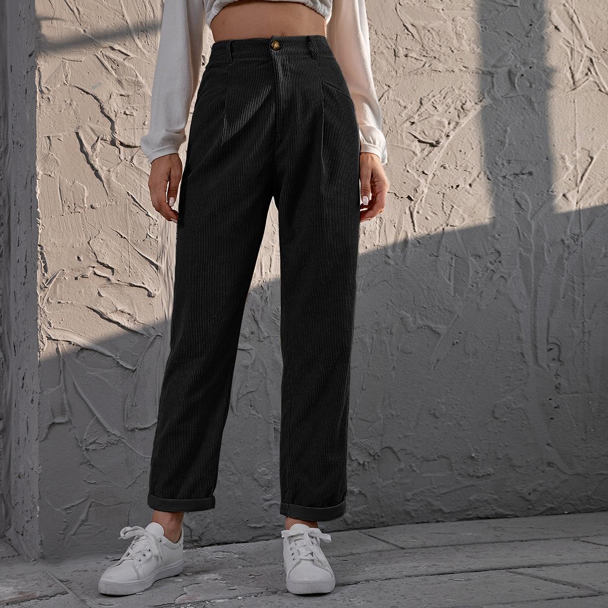 Вельветовые прямые брюки с высокой талией