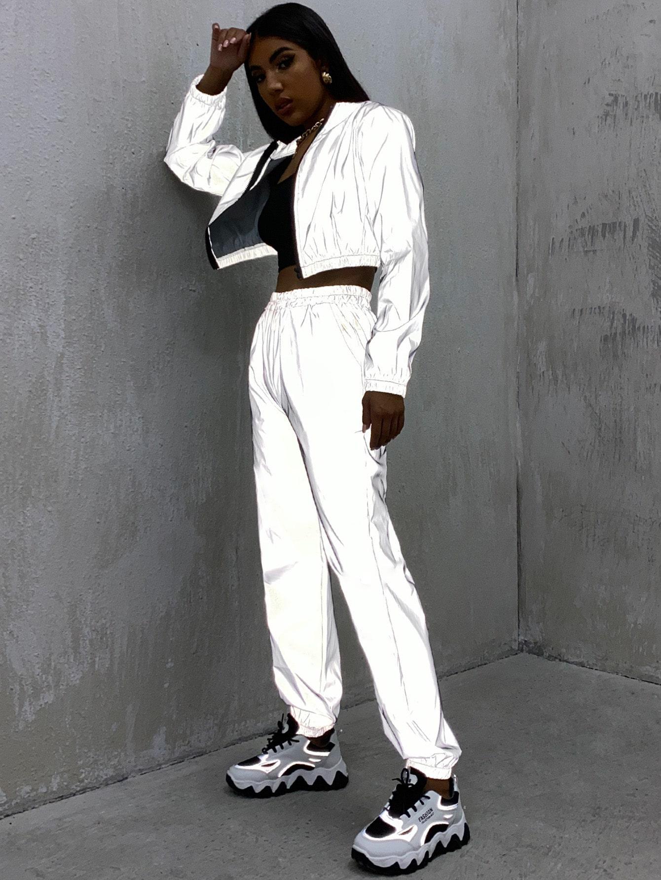 zipper placket reflective crop jacket & pants set