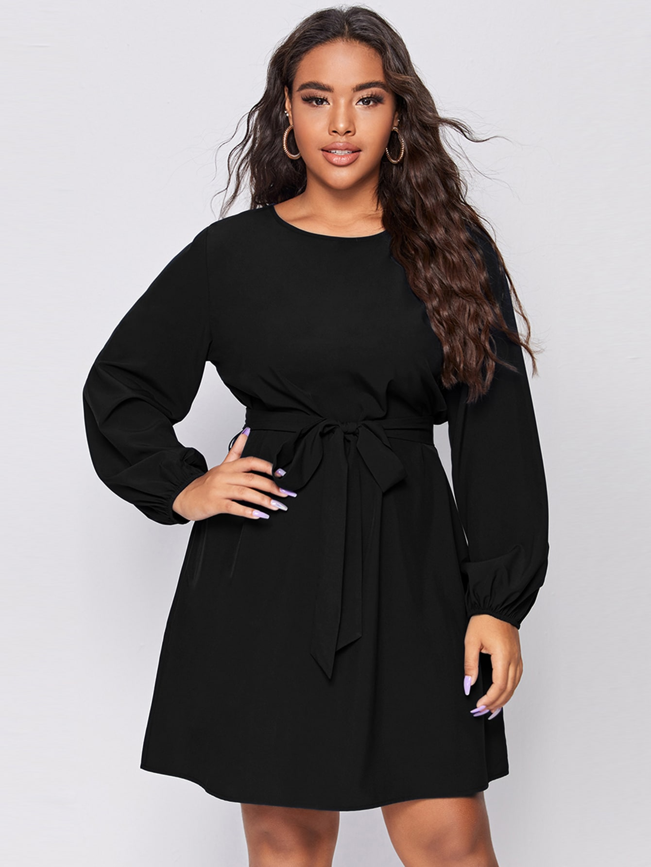 Plus Solid Bishop Sleeve Belted Tunic Dress thumbnail