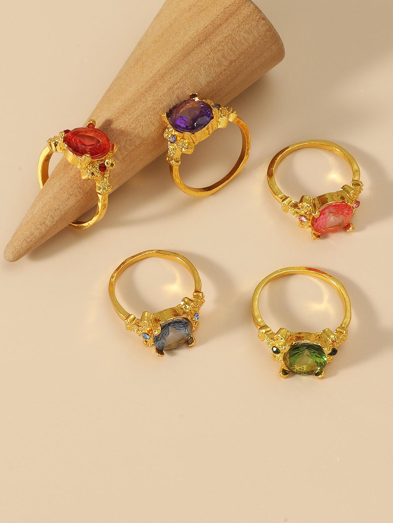 5pcs Rhinestone Decor Ring thumbnail