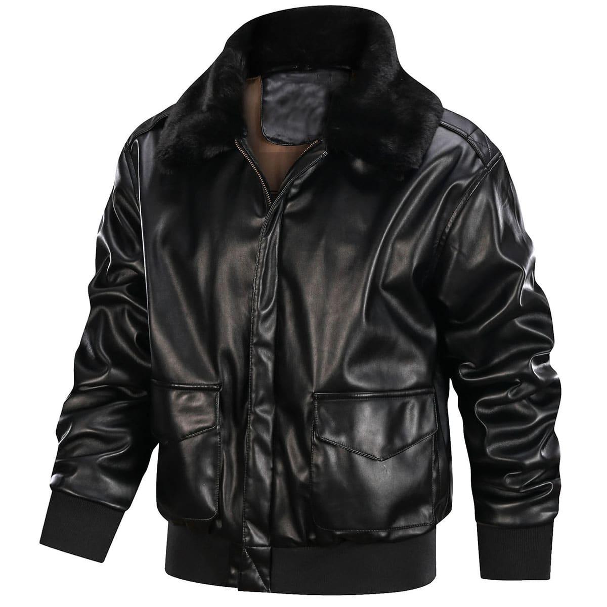 Мужская куртка из искусственной кожи с контрастным мехом