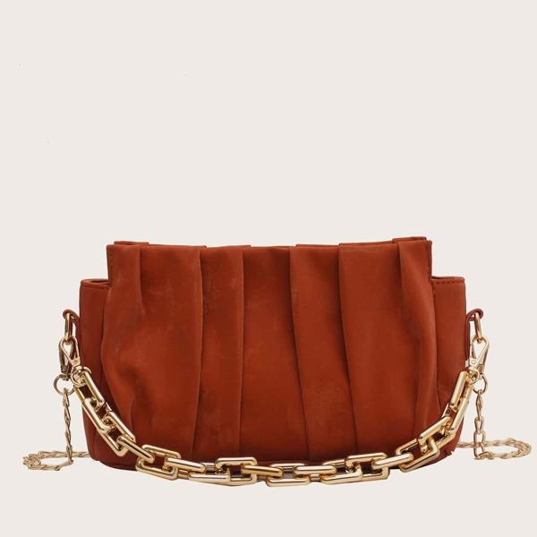Minimalist Ruched Chain Satchel Bag, Brown