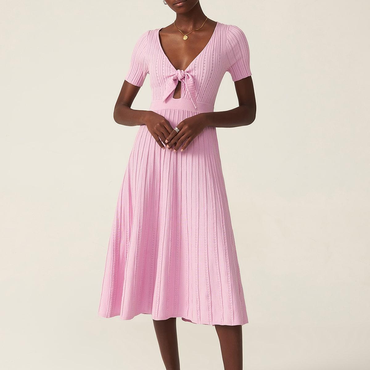 Платье-свитер из вискозы с узлом
