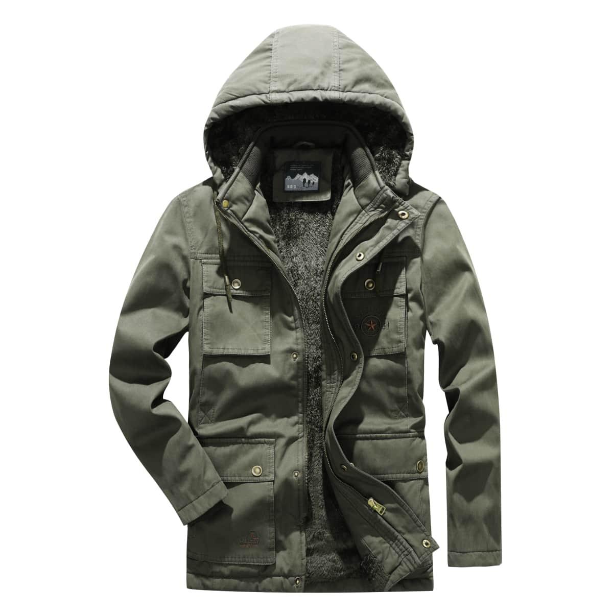 Мужская куртка с капюшоном и клапаном с вышивкой букв и карманом