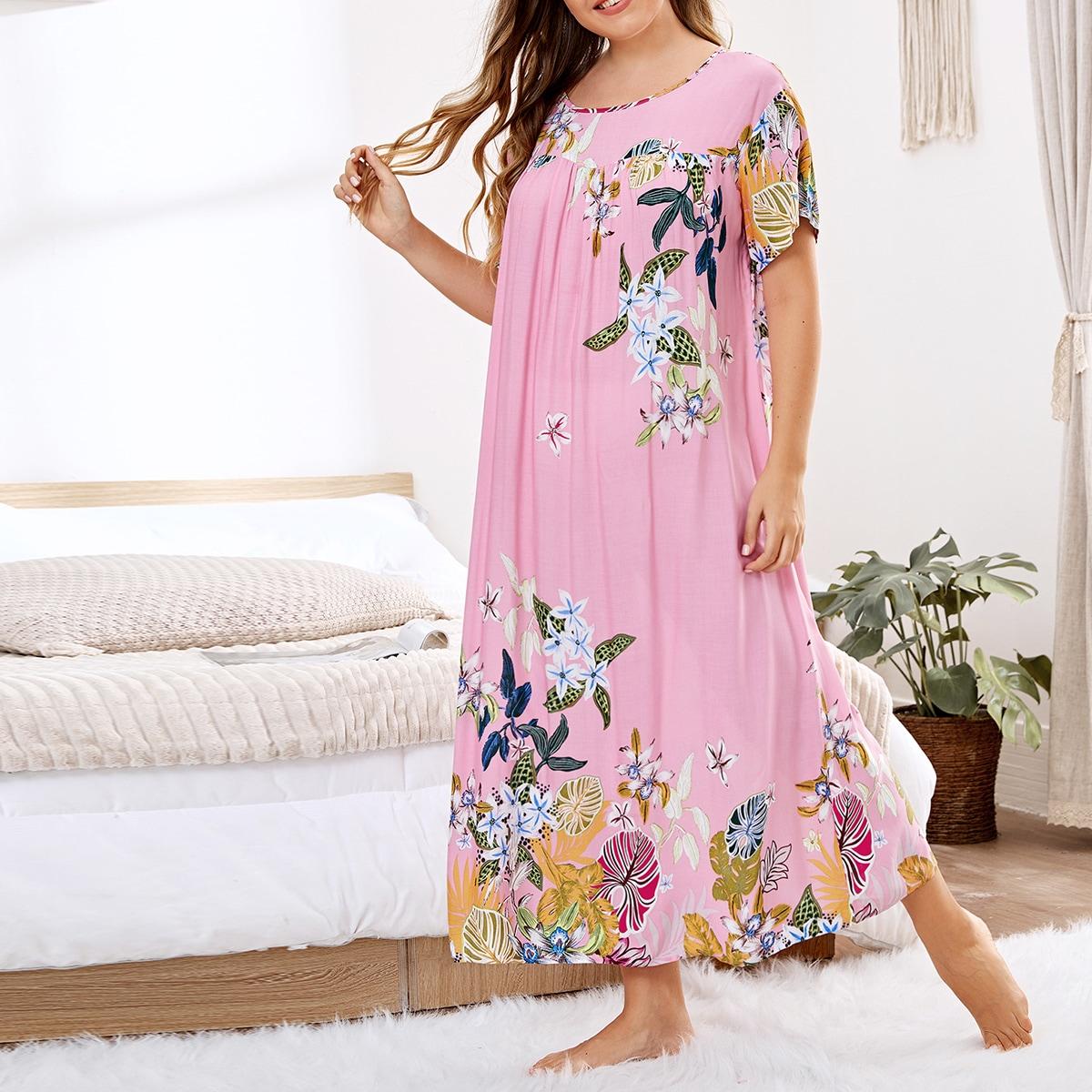 Ночная рубашка размера плюс с цветочным принтом