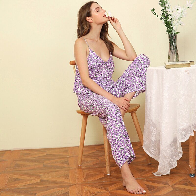 Flower Print Cami Pajama Set, Lilac purple