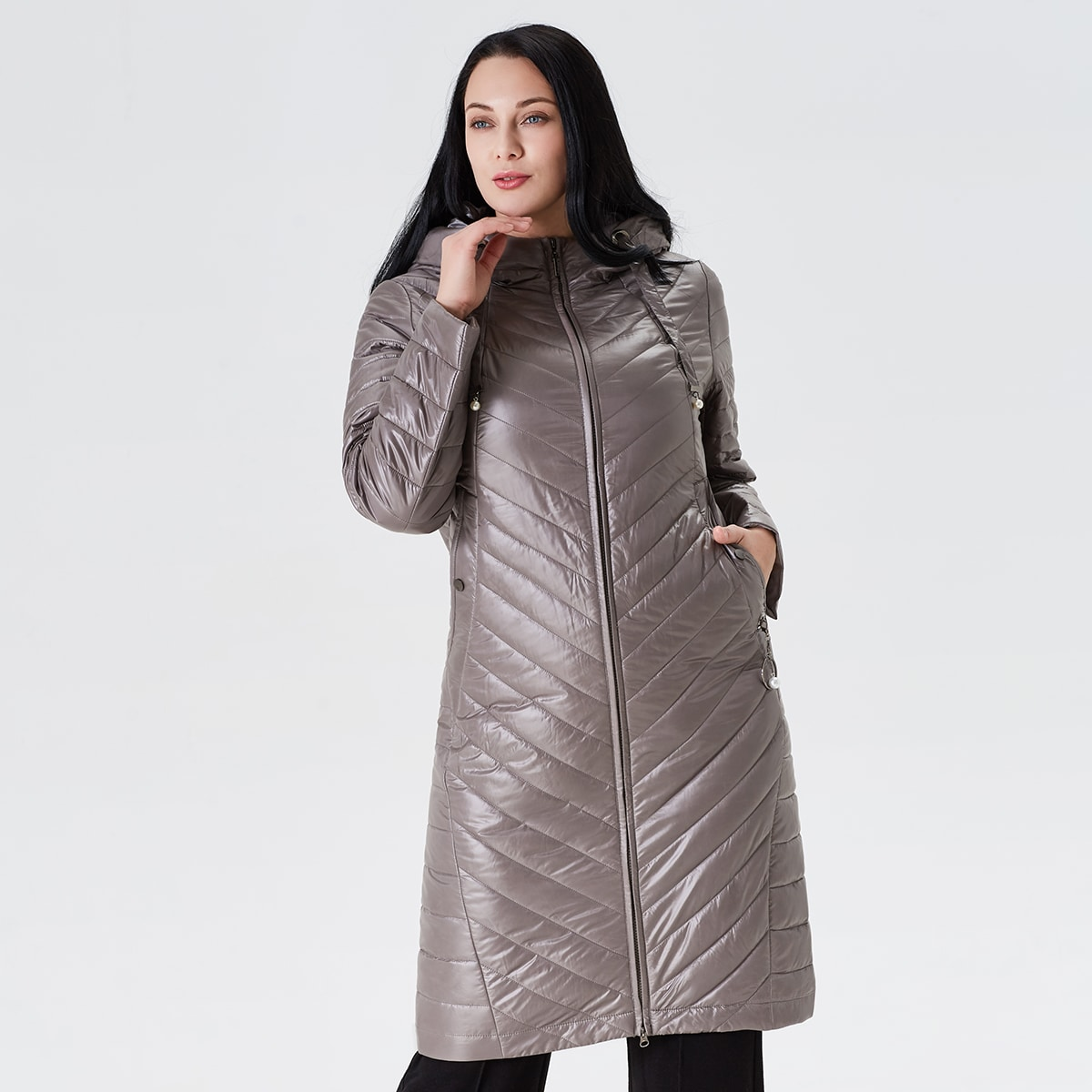 Astrid ватное пальто размера плюс с капюшоном на молнии
