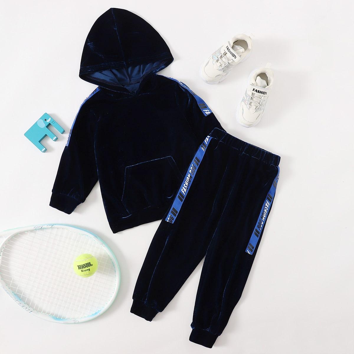 Бархатная толстовка и спортивные брюки с текстовой лентой для мальчиков