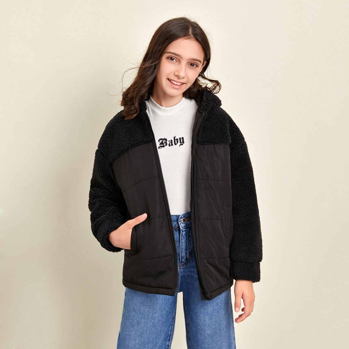 Girls Faux Shearling Panel Zip Up Hooded Puffer Jacket