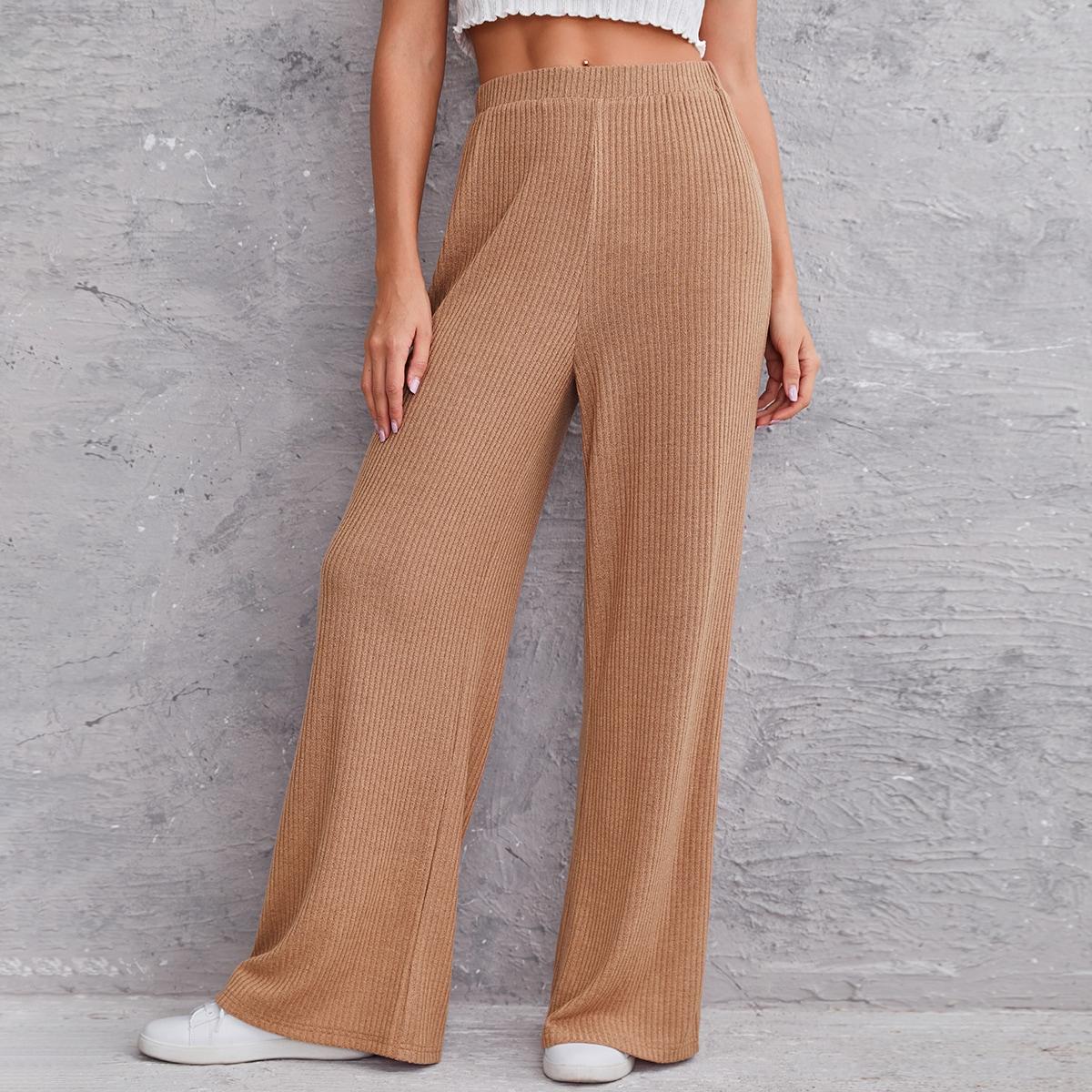 Вязаные широкие брюки в рубчик