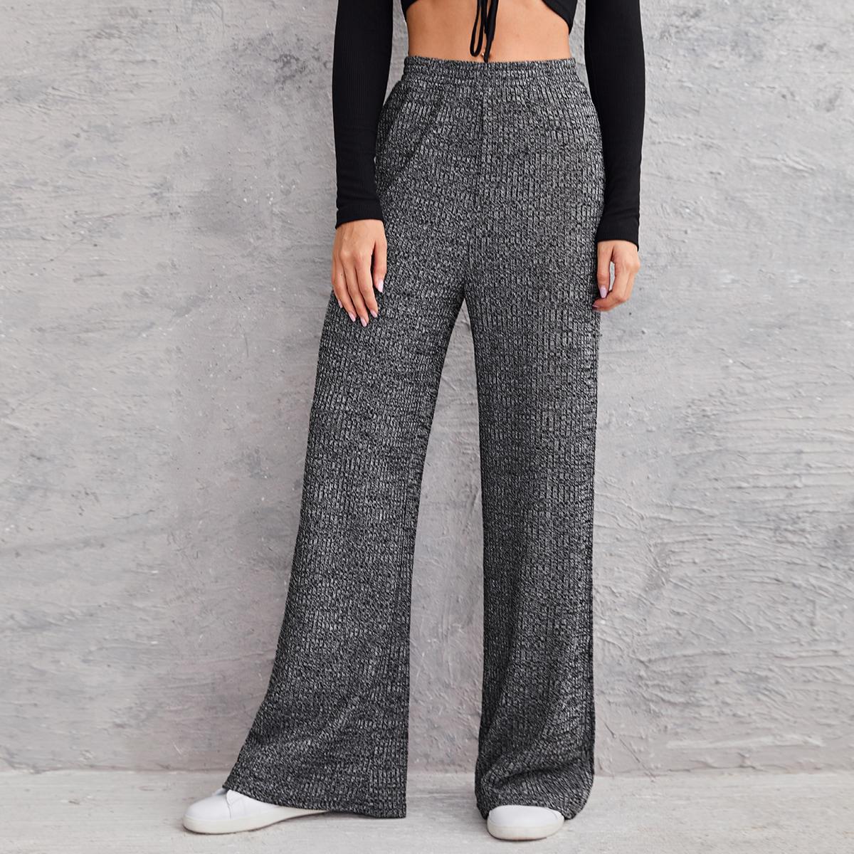 Широкие брюки в рубчик