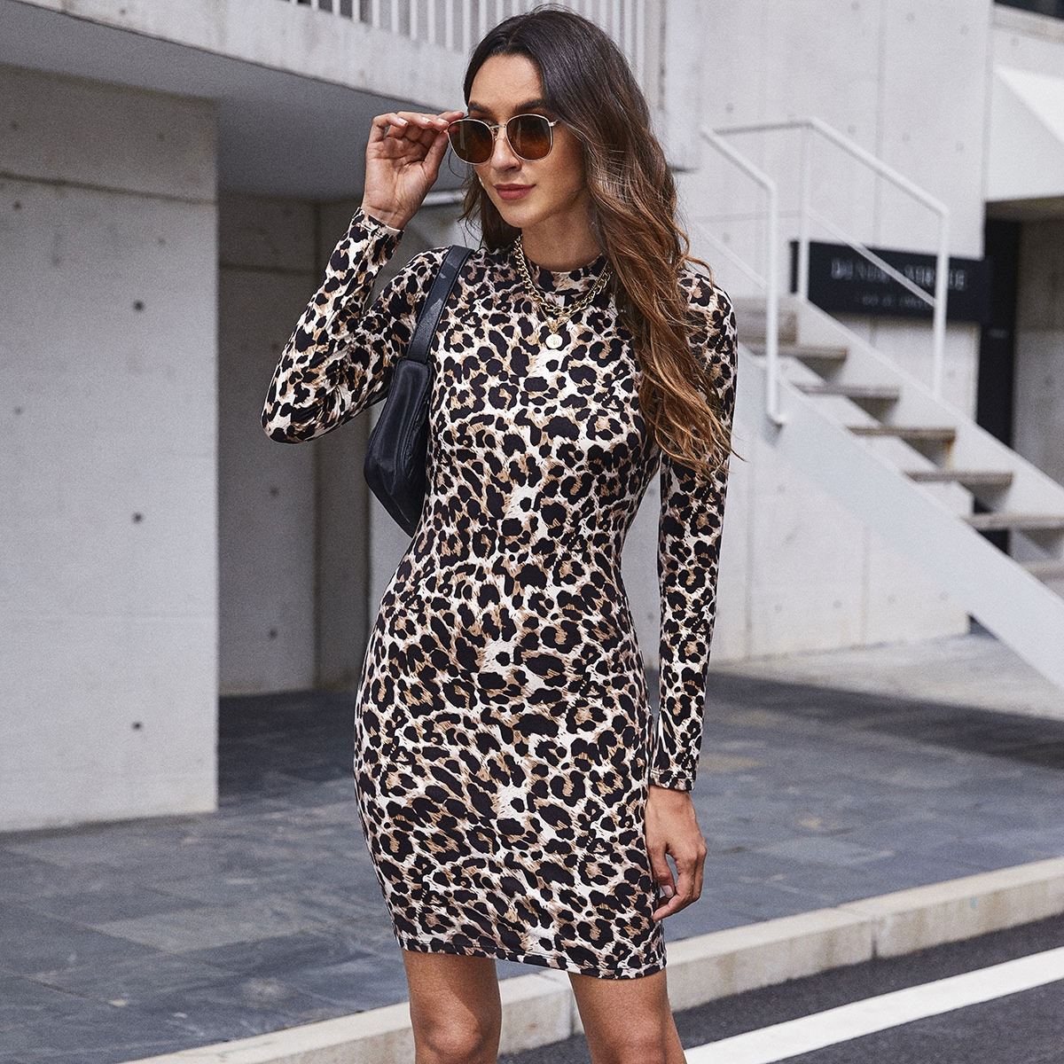 Mock Neck Leopard Dress