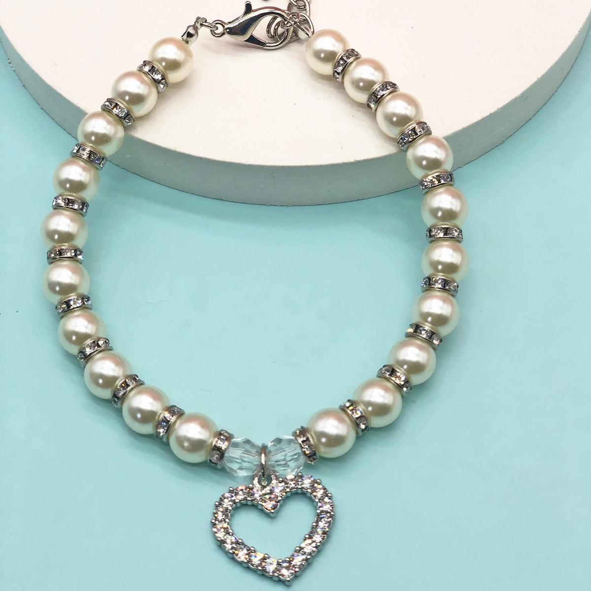 1 Stück Hundehalsband mit Strass und Perlen