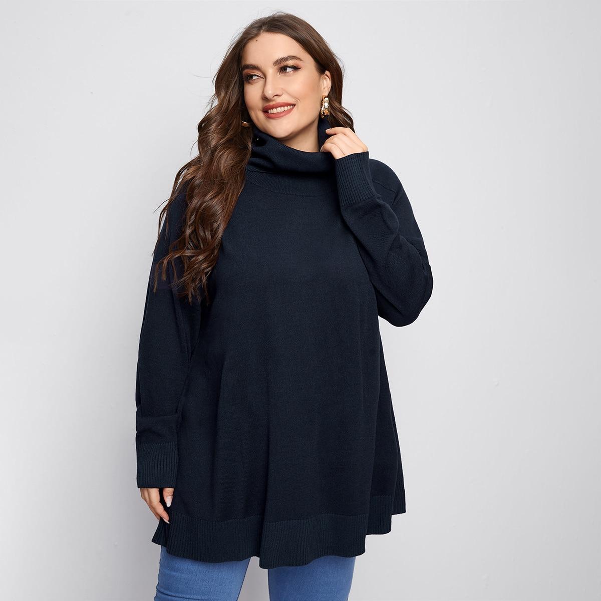 Длинный свитер размера плюс с рукавом реглан