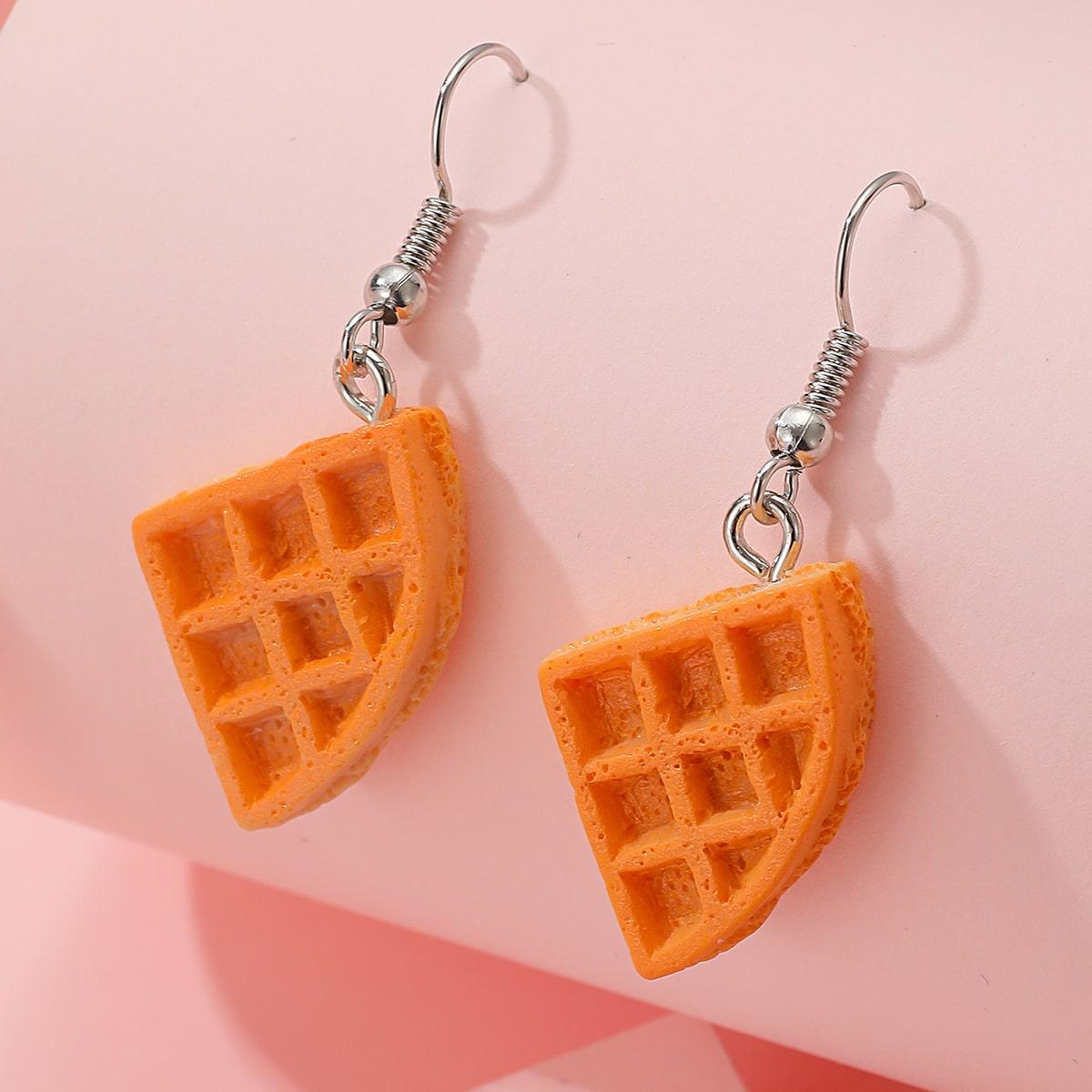 Waffle Charm Drop Earrings, SHEIN  - buy with discount