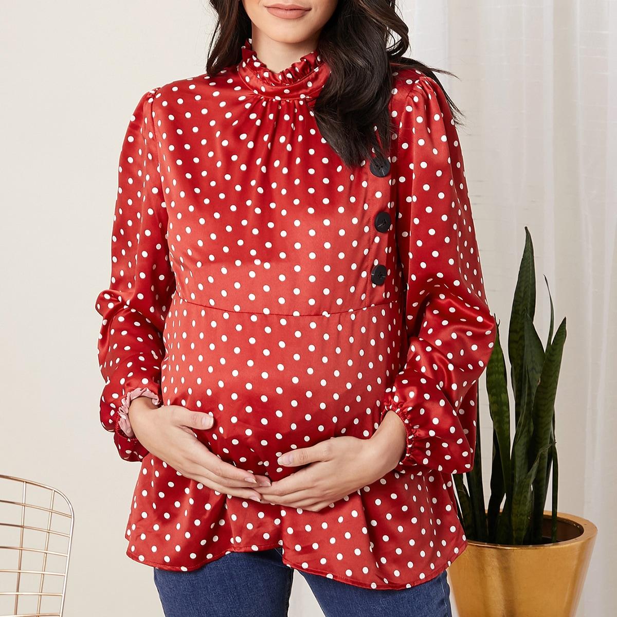 Топ в горошек с воротником-стойкой и рукавами фонариками для беременных