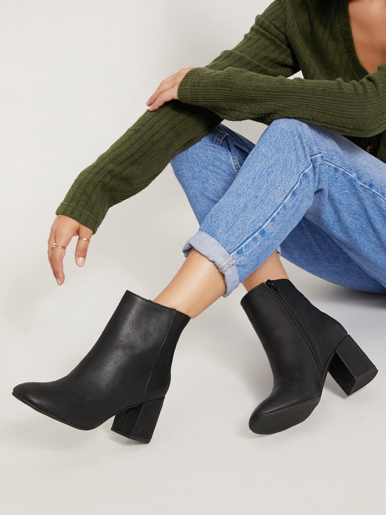 Almond Toe Chunky Heel Ankle Boots