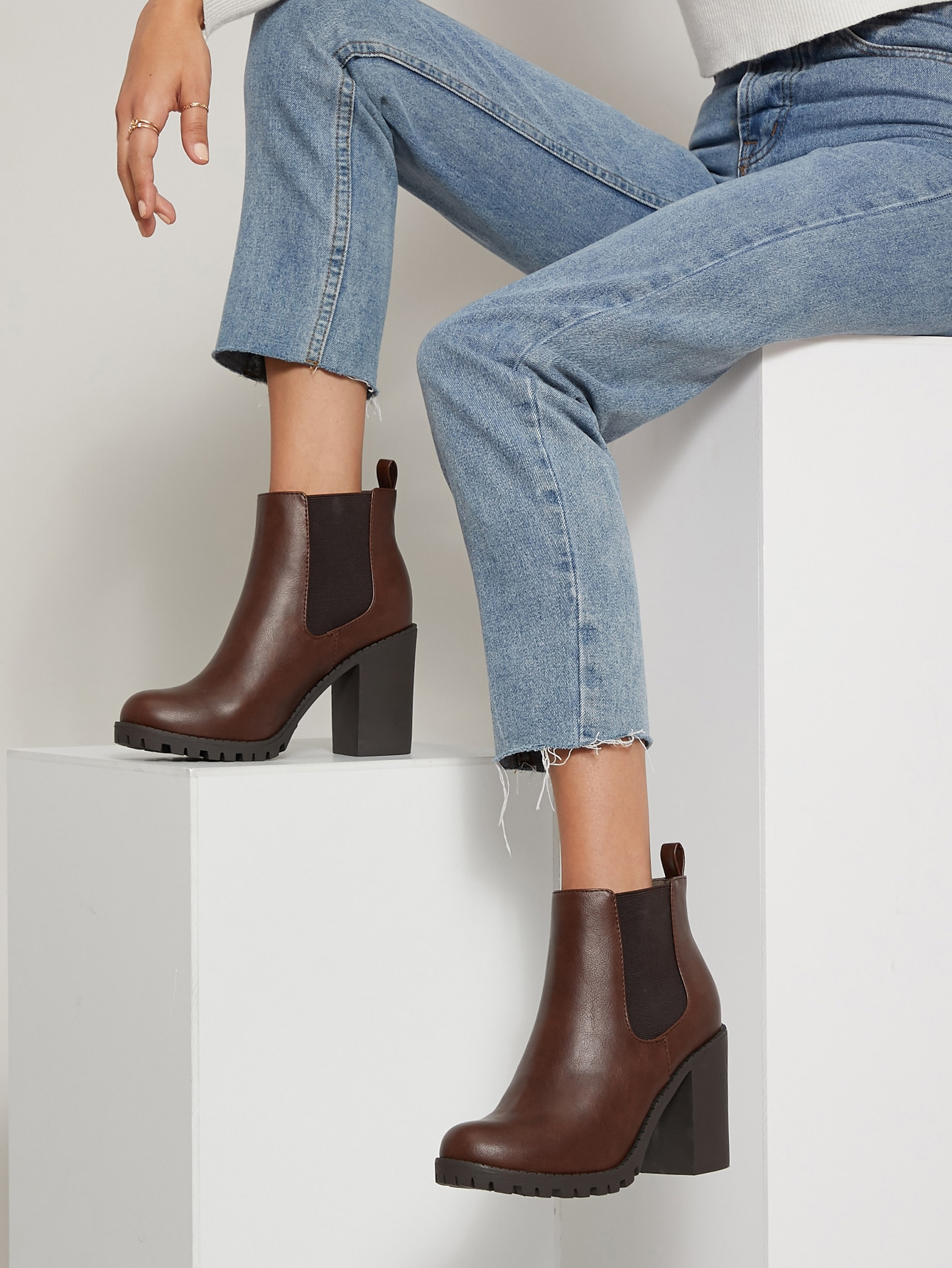 Faux Leather High Block Heel Chelsea Boots