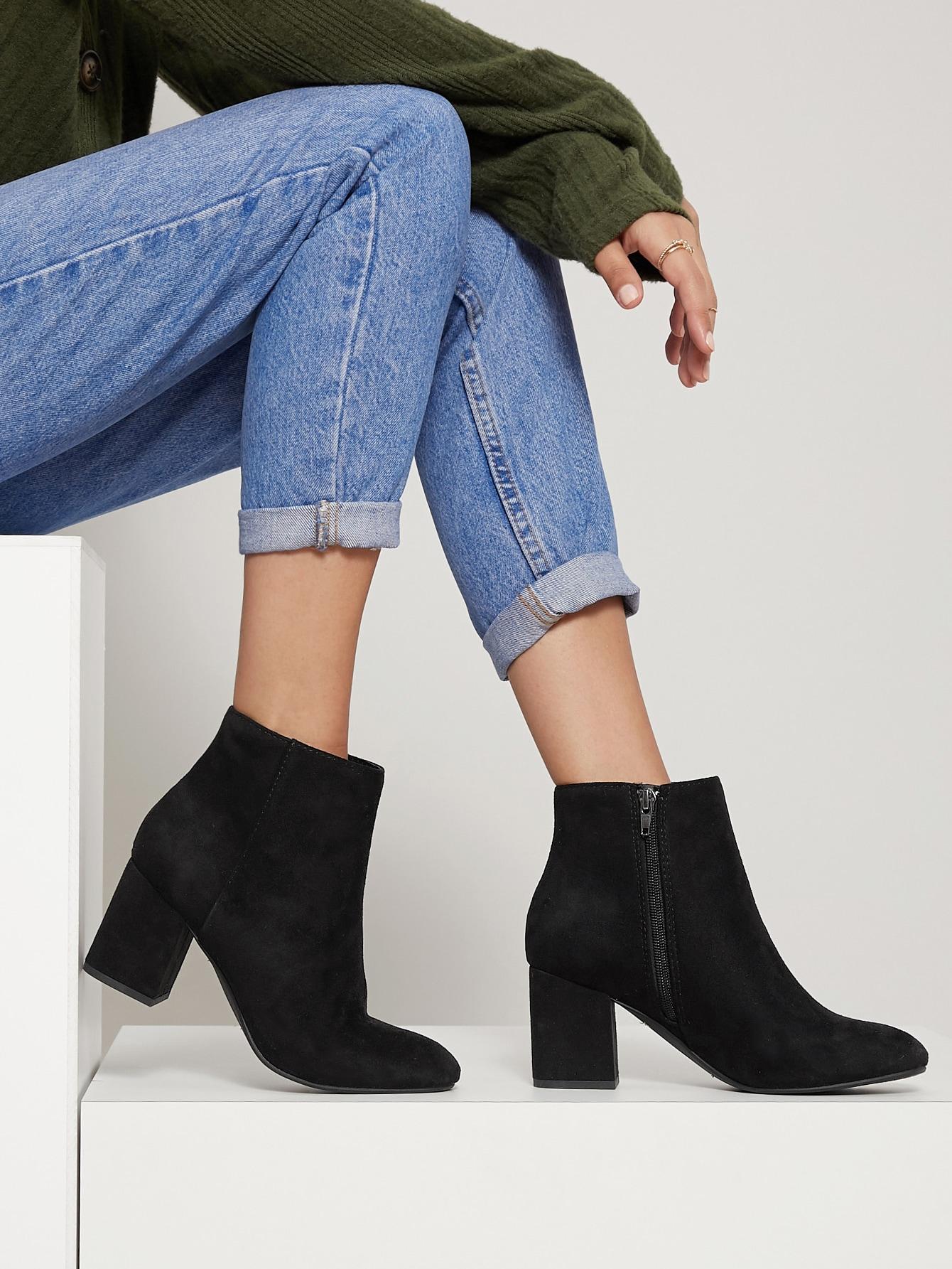 Faux Suede Block Heel Ankle Booties