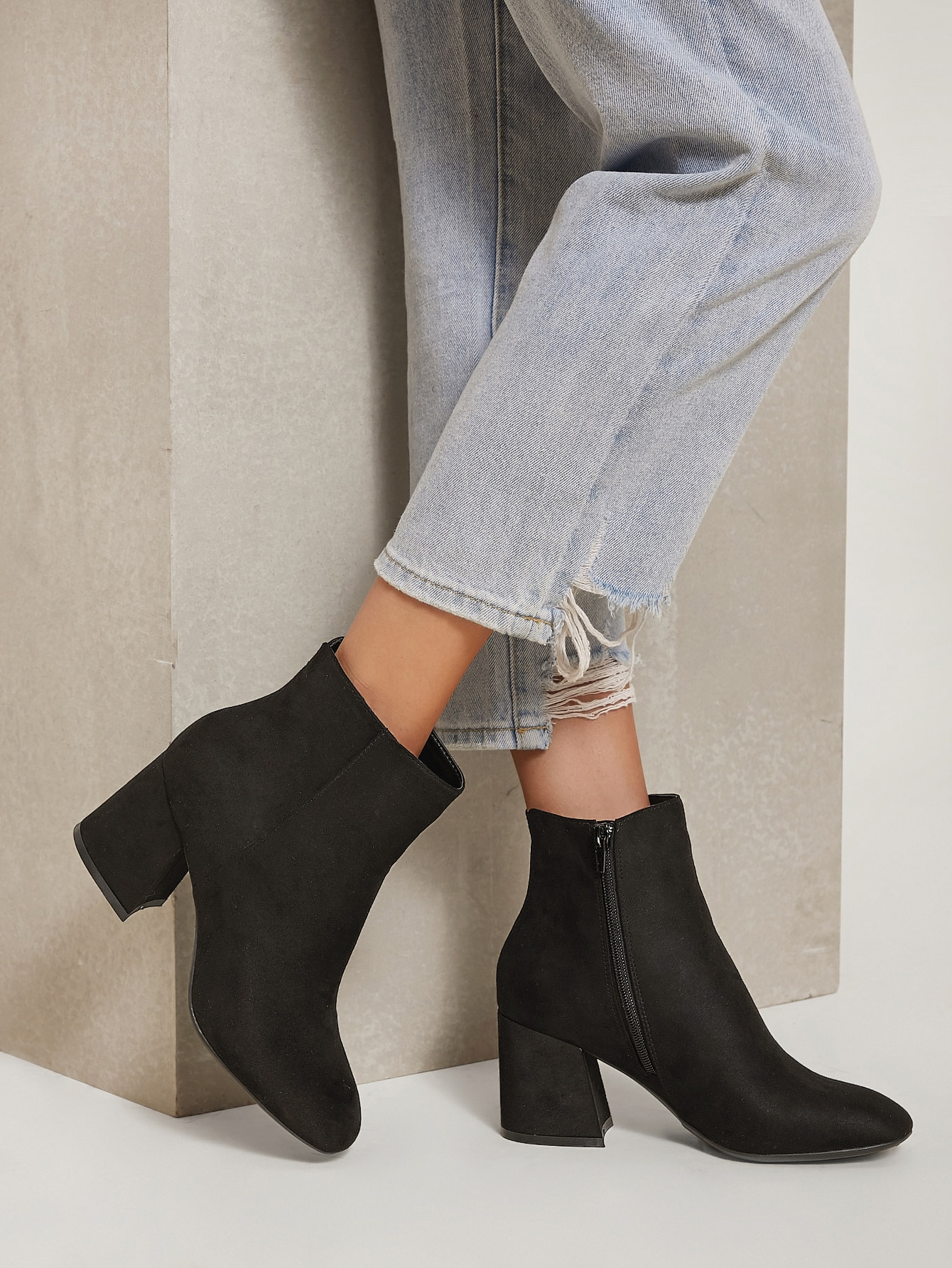 Faux Suede High Block Heel Ankle Boots