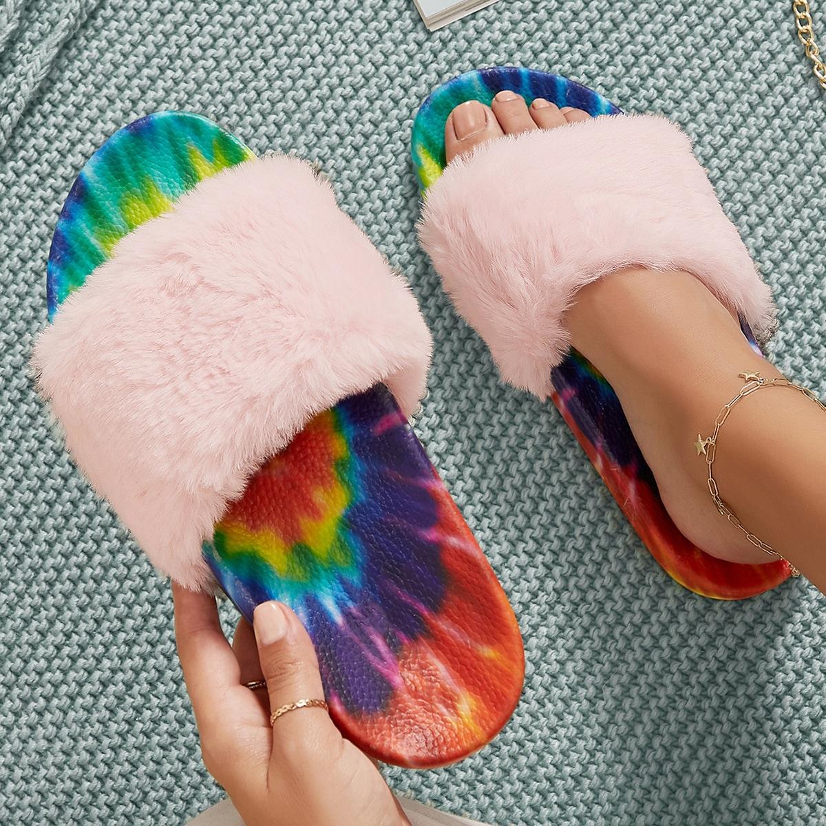 Плюшевые сандалии на стельке с принтом тай-дай
