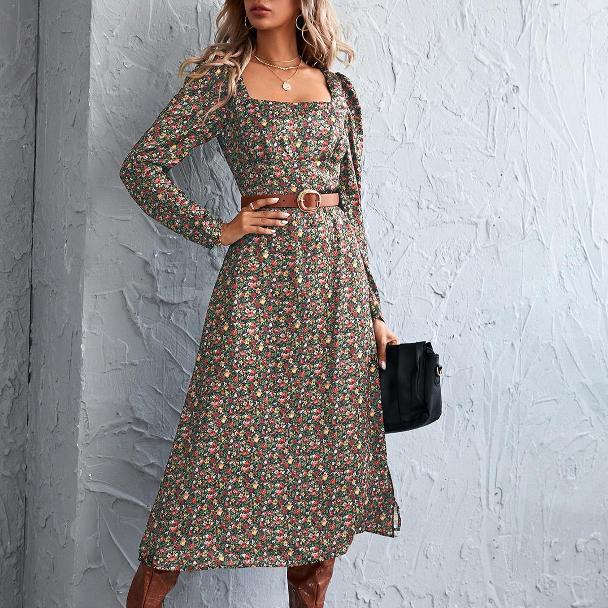 Платье с квадратным воротником и цветочным принтом без пояса