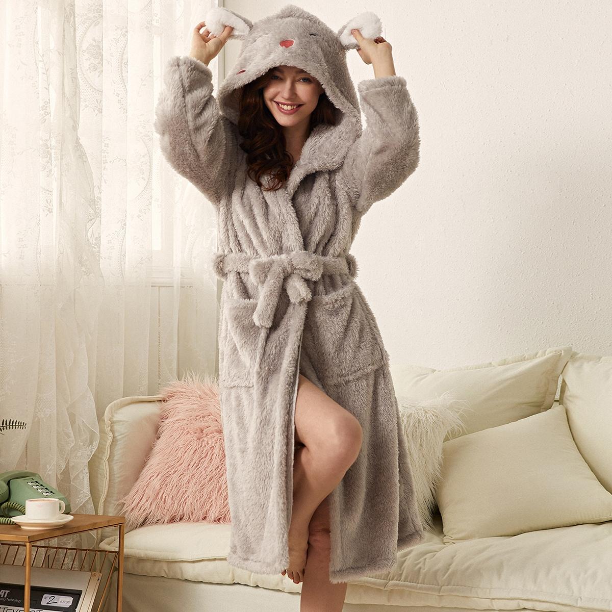 Плюшевый халат с поясом, мультипликационной вышивкой и капюшоном в форме 3D