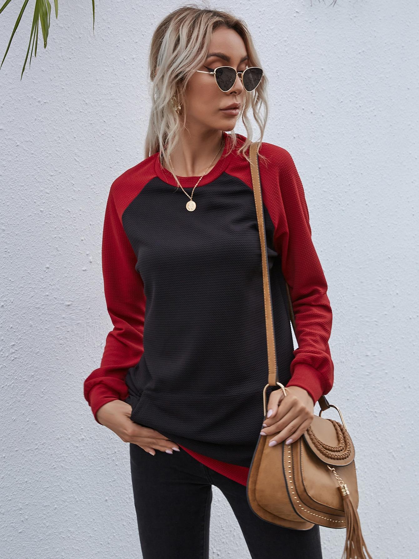 Raglan Sleeve Colorblock Sweatshirt thumbnail
