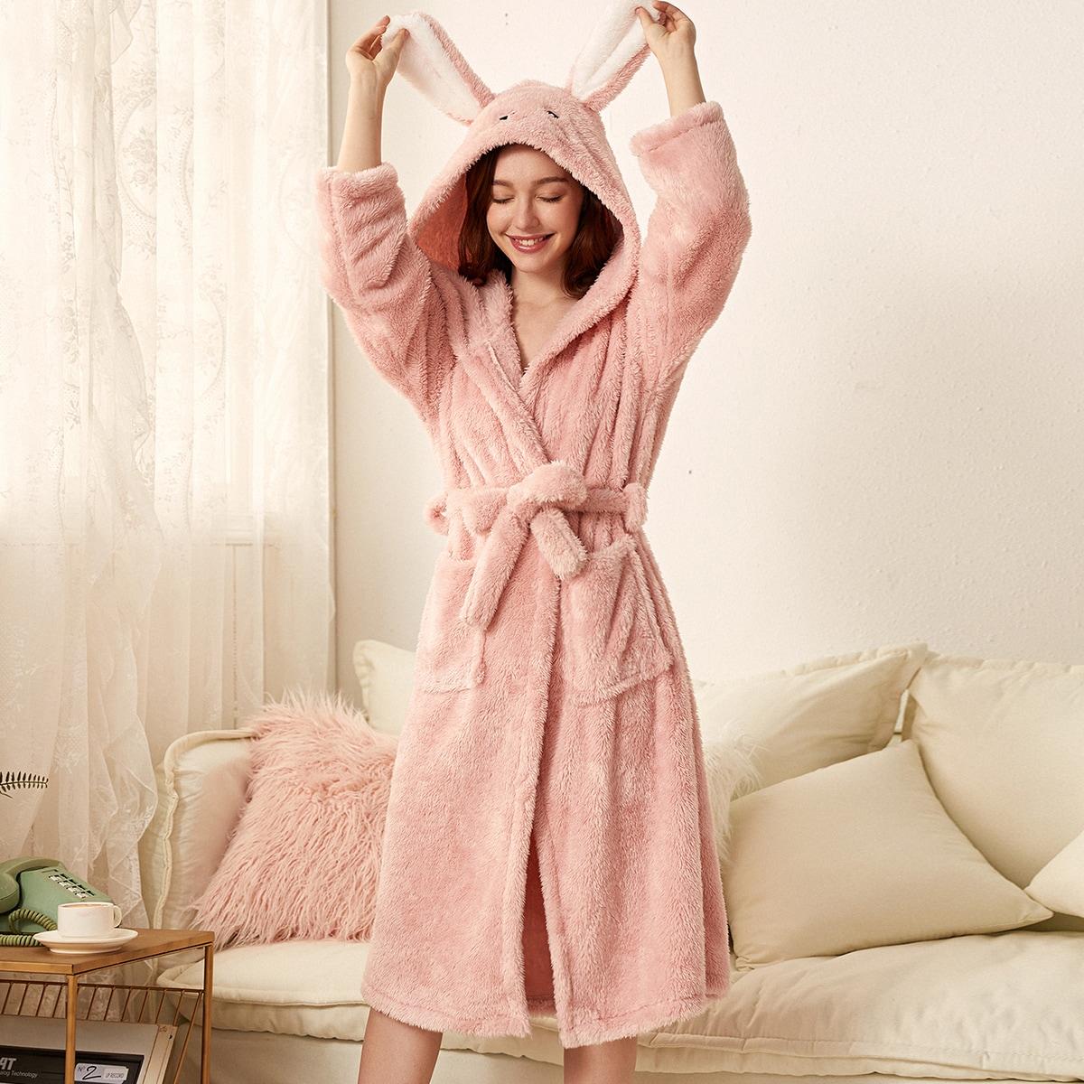 Плюшевый халат с поясом и капюшоном в форме ушей 3D