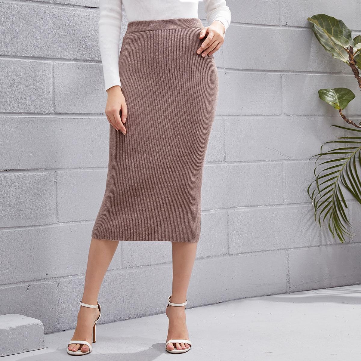 Шнуровка одноцветный повседневный вязаные юбки