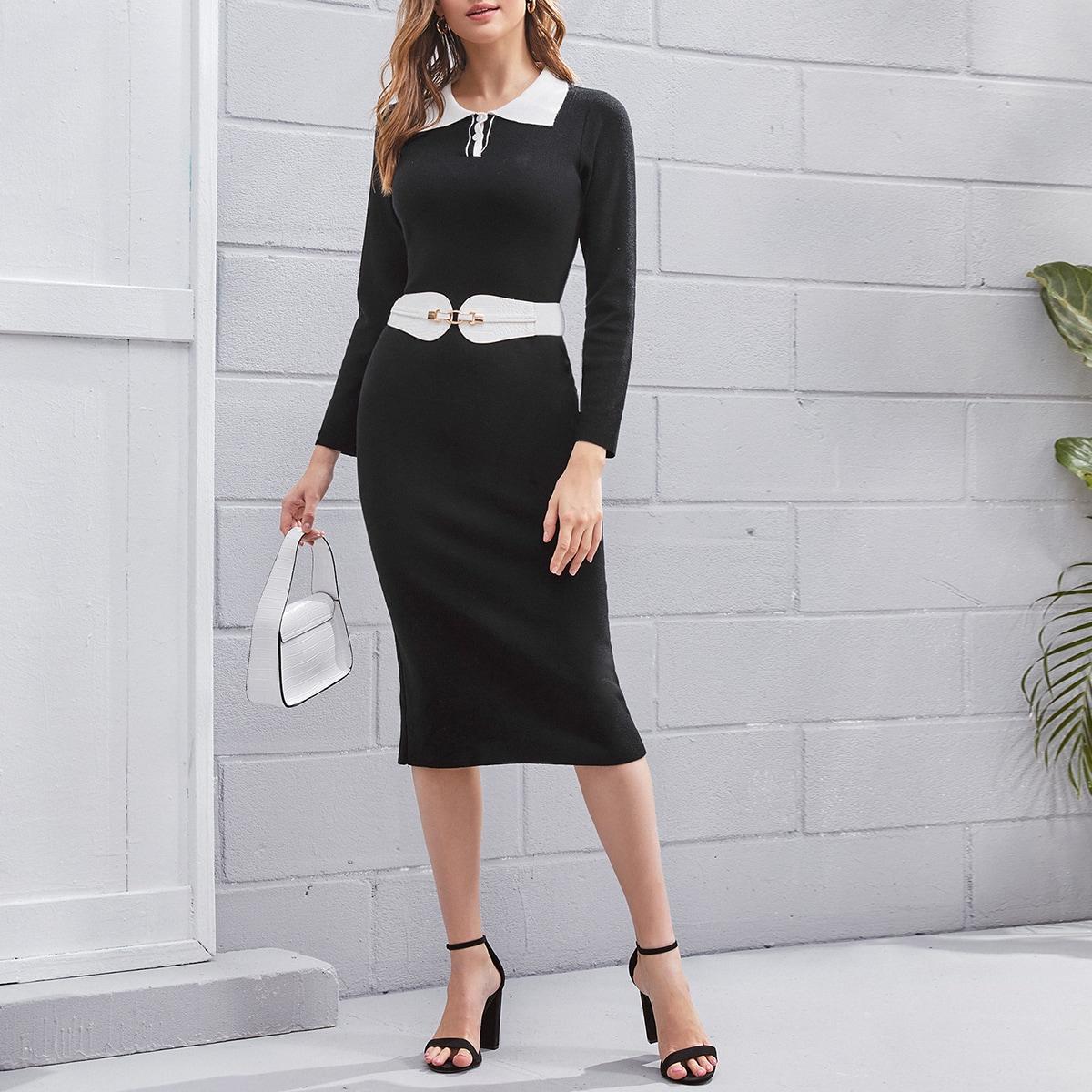 Контрастный воротник контрастный цвет элегантный платья-свитеры
