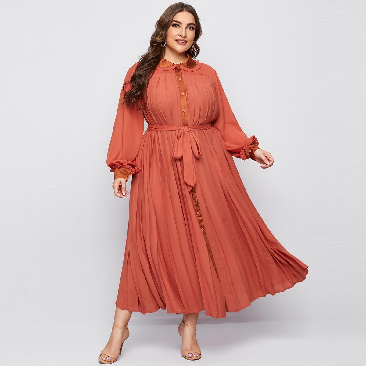 плиссированное Одноцветный Скромный Платья размер плюс