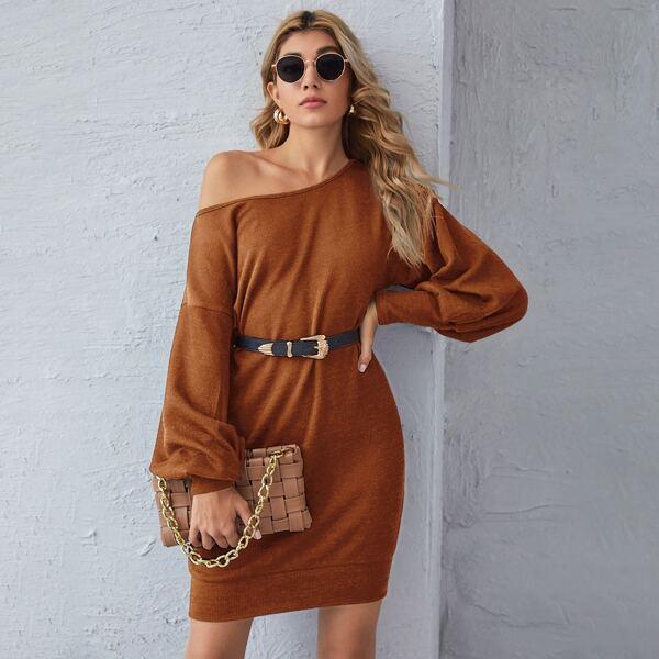 Drop Shoulder Lantern Sleeve Sweater Dress Without Belt, Brown