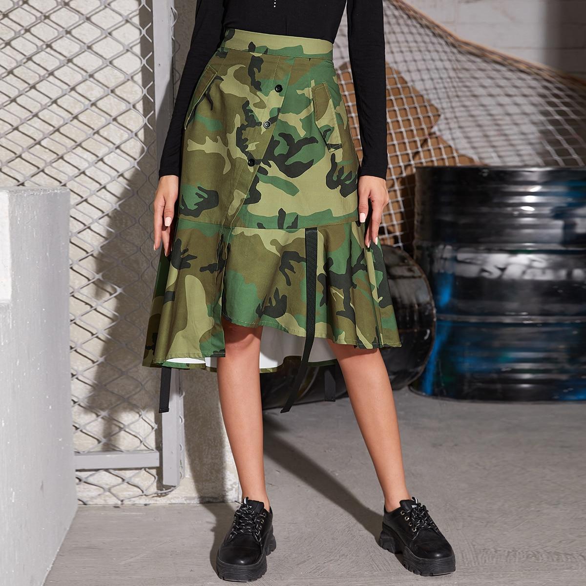 Низ-оборка камуфляж повседневный юбки