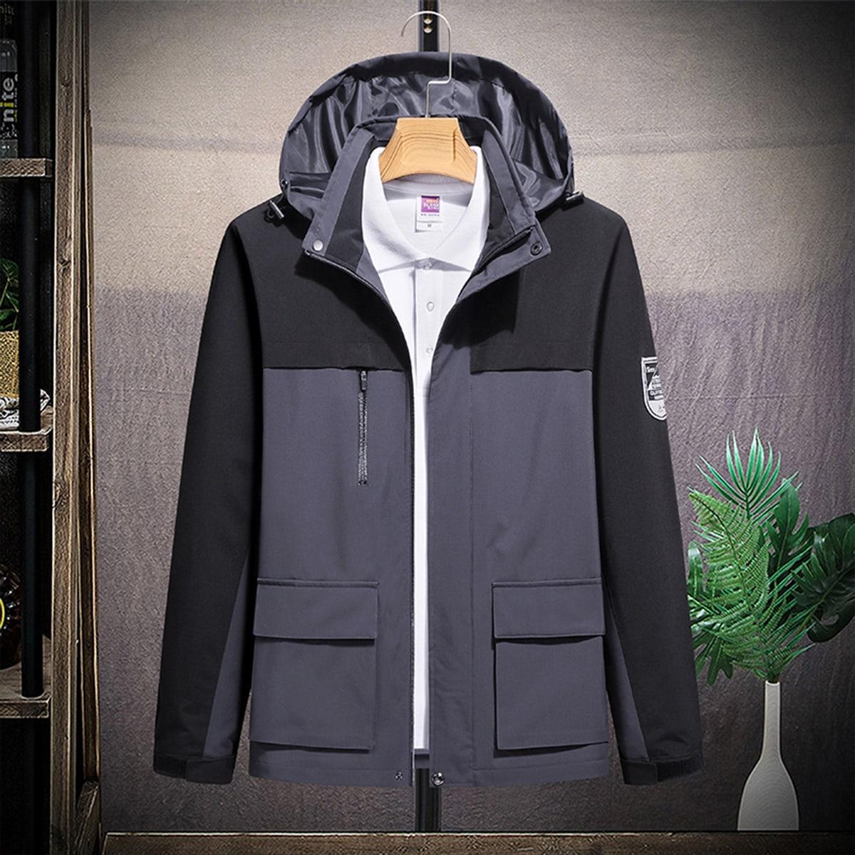 Мужская куртка с цветными блоками и нашивкой