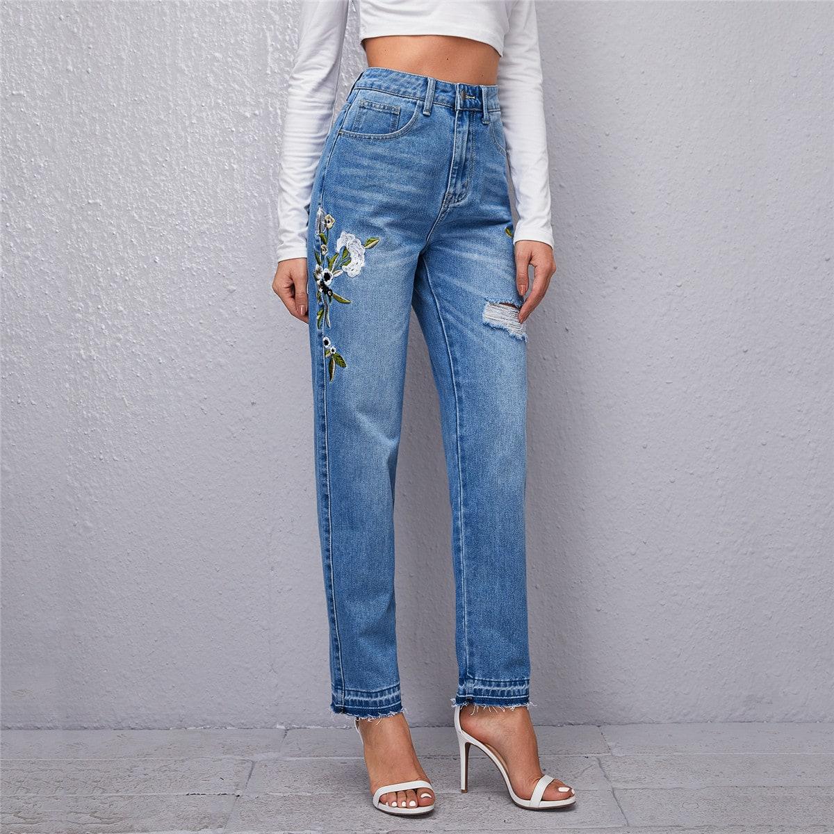 Прямые джинсы с высокой талией и вышивкой