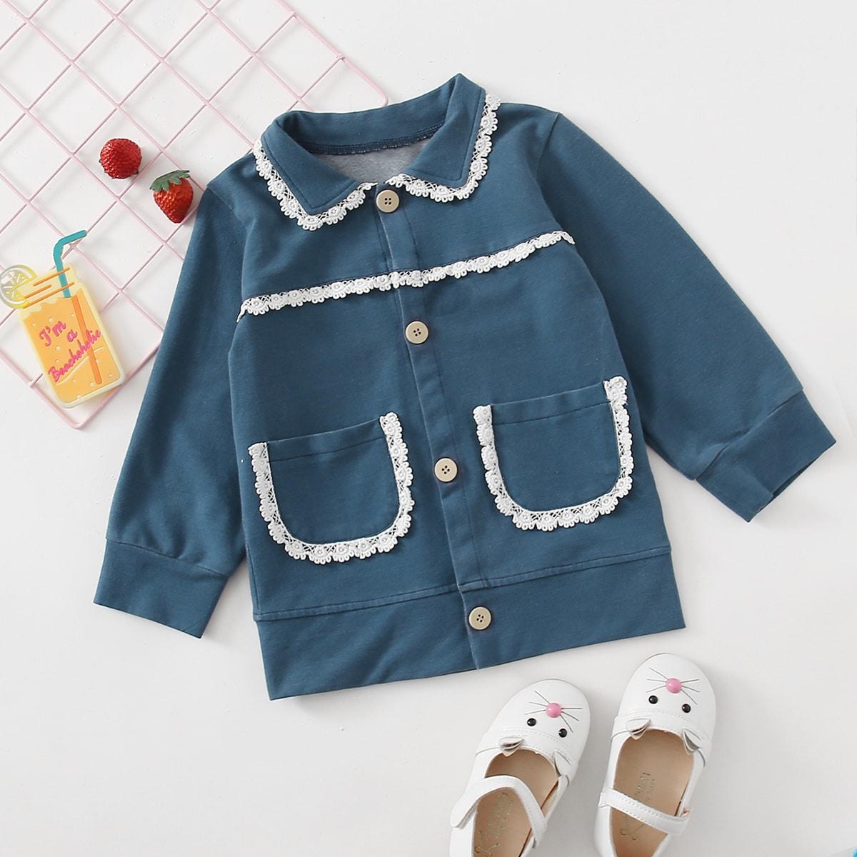 Однобортная джинсовая куртка с кружевной отделкой для девочек