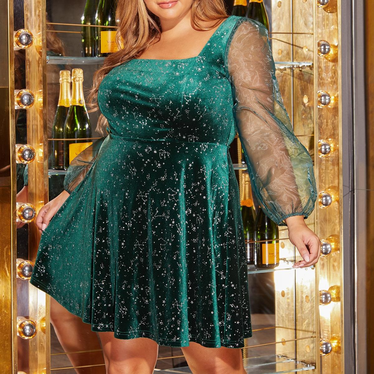 Бархатное платье размера плюс с сетчатыми рукавами фонариками