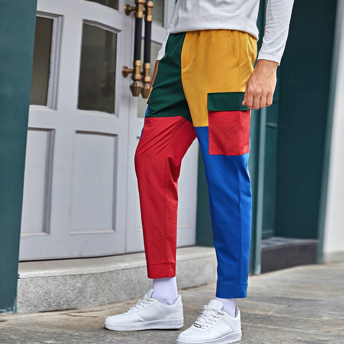 Мужские контрастные брюки с карманом