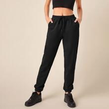 Drawstring Waist Solid Sweatpants