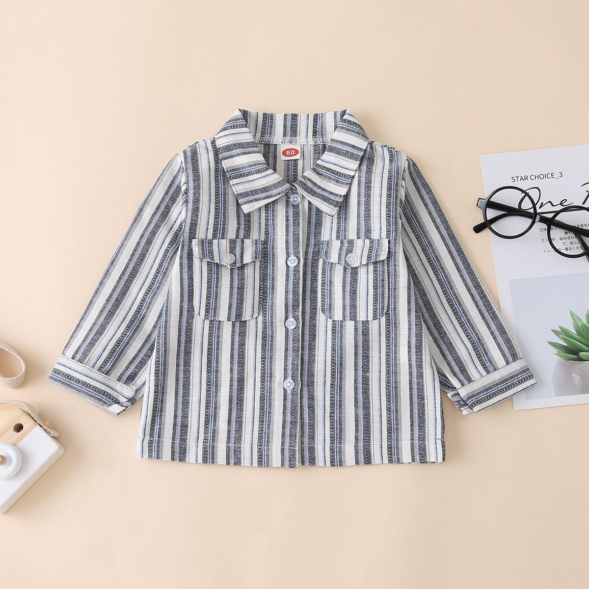 Рубашка с пуговицами и карманом для мальчиков